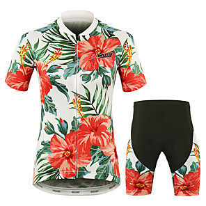 cheap Cycling Jersey & Shorts / Pants Sets-21Grams Floral Botanical Hawaii Women's Short Sleeve Cycling Jersey with Shorts - Red Bike Clothing Suit Breathable Quick Dry Moisture Wicking Sports 100% Polyester Mountain Bike MTB Road Bike Cycling