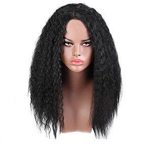 cheap Synthetic Trendy Wigs-Synthetic Wig Carrie Curl Layered Haircut Wig Medium Length Natural Black Synthetic Hair 58~ 62 inch Women's New Arrival Black