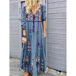cheap Women's Boots-Women's Maxi long Dress - Long Sleeve Tribal Print Spring Summer Vacation Boho Loose High Waist 2020 Red Brown Gray Light Blue S M L XL XXL XXXL XXXXL XXXXXL