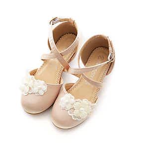 cheap Kids' Tiny Heels-Girls' Flower Girl Shoes / Children's Day Satin Heels Dress Shoes Little Kids(4-7ys) / Big Kids(7years +) Walking Shoes Bowknot Champagne / Ivory Spring / Summer / Party & Evening / Rubber