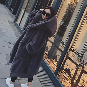 cheap Wedding Wraps-Women's Holiday / Work Street chic / Sophisticated Winter / Fall & Winter Long Faux Fur Coat, Solid Colored Hooded Long Sleeve Faux Fur Black / Gray