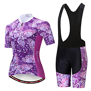 cheap Cycling Jersey & Shorts / Pants Sets-EVERVOLVE Floral Botanical Women's Short Sleeve Cycling Jersey with Bib Shorts - Black White Bike Clothing Suit Breathable Moisture Wicking Quick Dry Sports Cotton Polyster Lycra Mountain Bike MTB