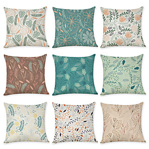 cheap Pillow Covers-9 pcs Linen Pillow Cover, Leaf Floral Print Neoclassical Pastoral Throw Pillow