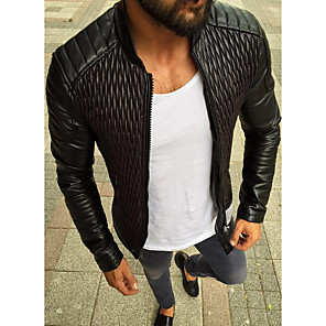 cheap Men's Slip-ons & Loafers-Men's Daily Regular Leather Jacket, Solid Colored Stand Long Sleeve PU Black / Red