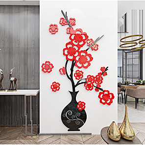 cheap Wall Stickers-Acrylic wall flower vase wall sticker