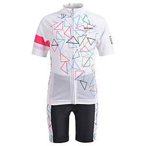 cheap Cycling Jersey & Shorts / Pants Sets-Nuckily Boys' Girls' Short Sleeve Cycling Jersey with Shorts - Kid's White Bike Clothing Suit Breathable Moisture Wicking Quick Dry Sports Spandex Chinlon Mountain Bike MTB Clothing Apparel