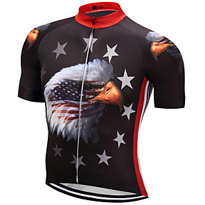 cheap Cycling Jersey & Shorts / Pants Sets-21Grams American / USA Eagle National Flag Men's Short Sleeve Cycling Jersey - Red+Blue Bike Top Breathable Moisture Wicking Quick Dry Sports Terylene Mountain Bike MTB Road Bike Cycling Clothing