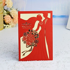 "cheap Wedding Wraps-Wrap & Pocket Wedding Invitations 30pcs - Invitation Cards / Invitation Sample / Engagement Party Cards Pearl Paper 5""×7 ¼"" (12.7*18.4cm)"