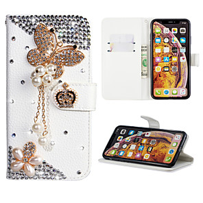 cheap Samsung Case-Case For Samsung Galaxy A6 (2018) / A6+ (2018) / Galaxy A7(2018) Wallet / Card Holder / Rhinestone Full Body Cases Butterfly PU Leather