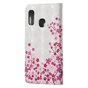cheap Samsung Case-Case For Samsung Galaxy A10(2019) / A20(2019) Wallet / Card Holder / with Stand Full Body Cases Cherry Blossom PU Leather for A30(2019) / A40(2019) / A50(2019) / A70(2019) / A7(2018)