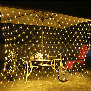 cheap LED String Lights-LED Net Lights Curtain Stirng Lights 6Mx4M 672LEDs 3Mx2M 200LEDs 1.5Mx1.5M 96LEDs White Warm White Blue Multi Color for Room Party Décor Linkable 220V