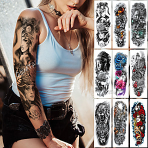 cheap Tattoo Stickers-1 pcs Large Arm Sleeve Tattoo Midnight Leopard Beauty Girl Waterproof Temporary Tatto Sticker Moonlight Rose Full Skull Tatoo Women