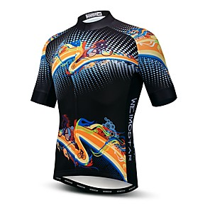 cheap Cycling Jerseys-21Grams Men's Short Sleeve Cycling Jersey Elastane Lycra Polyester Black Novelty Bike Jersey Top Mountain Bike MTB Road Bike Cycling Breathable Quick Dry Moisture Wicking Sports Clothing Apparel