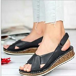 cheap Women's Sandals-Women's Sandals Wedge Sandals Flat Sandal Summer Flat Heel Round Toe Daily PU Black / Yellow / Red