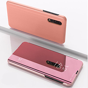 cheap OPPO Case-Case For Xiaomi Xiaomi Redmi Note 5 / Xiaomi Redmi Note 7 / Xiaomi Mi 9 with Stand / Mirror Full Body Cases Solid Colored PU Leather / PC