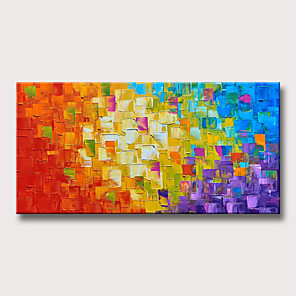 cheap Abstract Paintings-Oil Painting Hand Painted - Abstract Modern Rolled Canvas
