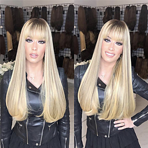 cheap Synthetic Trendy Wigs-Synthetic Wig Straight Middle Part Wig Blonde Long Light Blonde Synthetic Hair 26 inch Women's Women Blonde