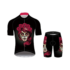 cheap Cycling Jersey & Shorts / Pants Sets-21Grams Sugar Skull Women's Short Sleeve Cycling Jersey with Shorts - Black / Red Bike Clothing Suit Breathable Quick Dry Moisture Wicking Sports 100% Polyester Mountain Bike MTB Clothing Apparel