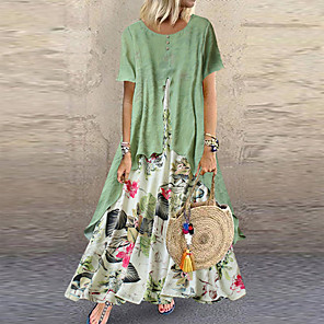 cheap Women's Sandals-Women's Two Piece Dress Maxi long Dress - Short Sleeve Floral Layered Button Print Summer Casual Holiday Vacation Loose 2020 Purple Yellow Pink Orange Green M L XL XXL XXXL XXXXL XXXXXL