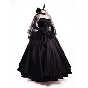 cheap Anime Costumes-Inspired by Fate / Zero Saber Anime Cosplay Costumes Cosplay Suits / Dresses Solid Colored / Textured Sleeveless Shawl / Gloves / Necklace For Women's Halloween Costumes