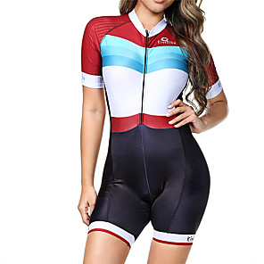 cheap Triathlon Clothing-BOESTALK Women's Short Sleeve Triathlon Tri Suit Red / White Stripes Bike Breathable Moisture Wicking Quick Dry Anatomic Design Back Pocket Sports Spandex Stripes Mountain Bike MTB Road Bike Cycling