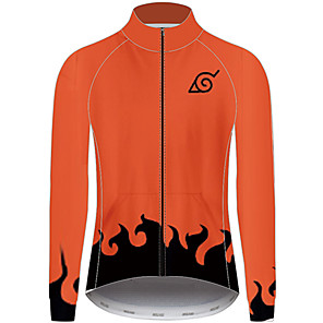 cheap Cycling Jersey & Shorts / Pants Sets-21Grams Naruto Men's Long Sleeve Cycling Jersey - Orange Bike Jersey Top UV Resistant Breathable Quick Dry Sports Winter Fleece 100% Polyester Mountain Bike MTB Clothing Apparel / Micro-elastic