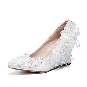 cheap Wedding Shoes-Women's Wedding Shoes Wedge Heel Pointed Toe Satin Flower Lace / PU Sweet / Minimalism Spring &  Fall / Spring & Summer White / Pink / Party & Evening