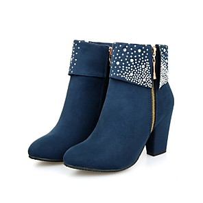 cheap Women's Boots-Women's Boots Chunky Heel Round Toe Suede Mid-Calf Boots Fall & Winter Black / Red / Blue