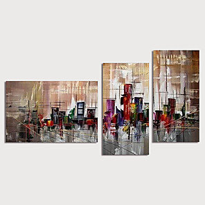cheap Abstract Paintings-Oil Painting Hand Painted - Abstract Landscape Modern Stretched Canvas / Three Panels