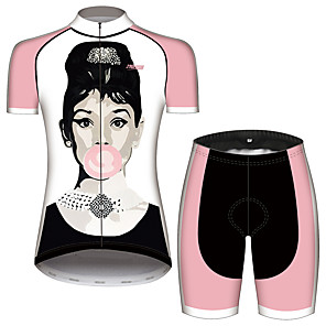 cheap Triathlon Clothing-21Grams Audrey Hepburn Women's Short Sleeve Cycling Jersey with Shorts - Black / White Bike Clothing Suit Breathable Quick Dry Moisture Wicking Sports 100% Polyester Mountain Bike MTB Clothing Apparel