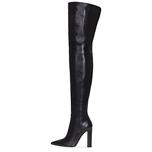 cheap Women's Boots-Women's Boots Over-The-Knee Boots Chunky Heel Pointed Toe Faux Leather Over The Knee Boots British / Minimalism Winter Black / Nude / Party & Evening