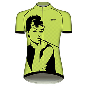 cheap Cycling Jerseys-21Grams Audrey Hepburn Women's Short Sleeve Cycling Jersey - Green / Black Bike Jersey Top Breathable Quick Dry Moisture Wicking Sports 100% Polyester Mountain Bike MTB Road Bike Cycling Clothing