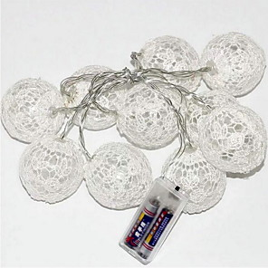 cheap LED String Lights-2m String Lights 10 LEDs 1 set Warm White Decorative AA Batteries Powered