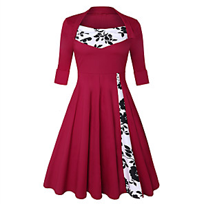 cheap Historical & Vintage Costumes-Audrey Hepburn Retro Vintage 1950s Dress Women's Spandex Costume Wine / Black & White / Red+Black Vintage Cosplay Short Sleeve