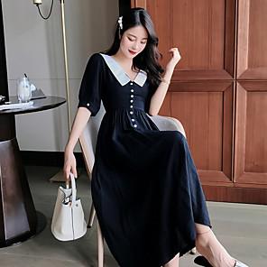 cheap Historical & Vintage Costumes-Audrey Hepburn Retro Vintage Little Black Dress 1950s Dress Masquerade Women's Costume Black Vintage Cosplay Party Halloween