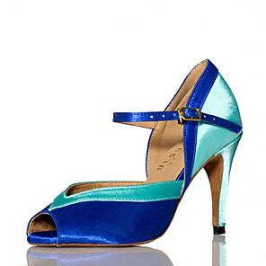 cheap Wedding Shoes-Women's Dance Shoes Satin Latin Shoes Splicing Heel Slim High Heel Customizable Blue / Performance