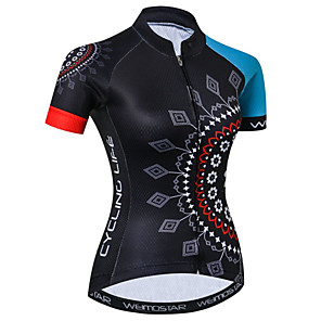 cheap Cycling Jerseys-21Grams Floral Botanical Women's Short Sleeve Cycling Jersey - Blue / Black Bike Jersey Top Breathable Quick Dry Moisture Wicking Sports Elastane Terylene Polyester Taffeta Mountain Bike MTB Road