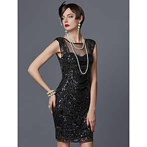 cheap Historical & Vintage Costumes-Charleston 1920s The Great Gatsby Roaring Twenties Flapper Dress Women's Sequins Costume Black / Dusty Rose / Champagne Vintage Cosplay Party Homecoming Prom Short Sleeve Knee Length