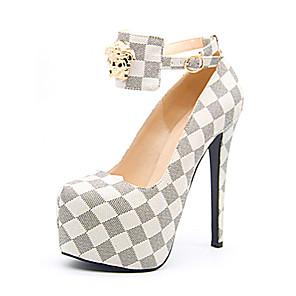 cheap Women's Heels-Women's Heels Stiletto Heel Round Toe PU Spring &  Fall White