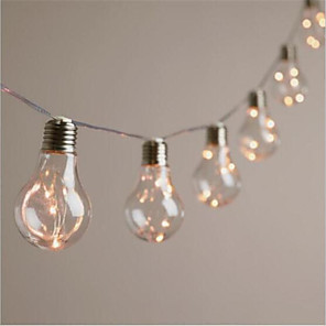 cheap LED String Lights-IP65 4M 10 Led Copper String Bulbs Retro Vintage Lamp Fairy Festoon Holiday Flexible String Lights Wedding Christmas Party Garden Home Decor Lighting Warm White Lighting AA Battery Power