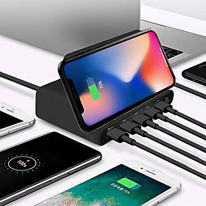 cheap Phone Mounts & Holders-10W Qi Wireless Charger For Iphone X XS MAX Multi USB Quick Charge 3.0 Fast Chargeur For Samsung S9 S8