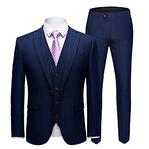 cheap Makeup Brush Sets-Tuxedos Tailored Fit Slim Notch Single Breasted One-button Polyester Stripes / Fashion