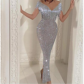 cheap Wedding Wraps-Sheath / Column Sparkle Grey Party Wear Nightclub Dress V Neck Short Sleeve Ankle Length Sequined with Tassel 2020