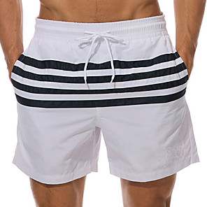 cheap Wetsuits, Diving Suits & Rash Guard Shirts-Men's Swim Shorts Swim Trunks Board Shorts Breathable Quick Dry Short Sleeve Drawstring - Swimming Diving Beach Stripes Patchwork Autumn / Fall Spring Summer / Micro-elastic