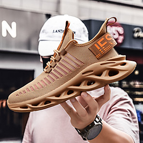 cheap Men's Sneakers-Men's Summer / Fall Casual / Roman Shoes Daily Sneakers Running Shoes / Walking Shoes Tissage Volant Breathable Non-slipping Shock Absorbing Dark Brown / White / Black