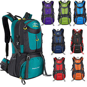 cheap Sleeping Bags & Camp Bedding-60 L Hiking Backpack Rucksack Breathable Straps - Lightweight Breathable Rain Waterproof Wear Resistance Outdoor Hunting Hiking Climbing Nylon Lake Green Black Purple / Yes