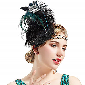 cheap Historical & Vintage Costumes-Vintage 1920s The Great Gatsby Flapper Headband Women's Feather Costume Head Jewelry White / Green Vintage Cosplay Festival / Headwear / Headwear
