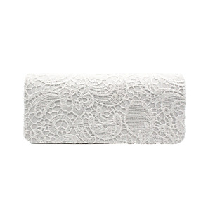 cheap Clutches & Evening Bags-Women's Lace / Chain Silk Evening Bag Solid Color White / Black / Purple / Fall & Winter