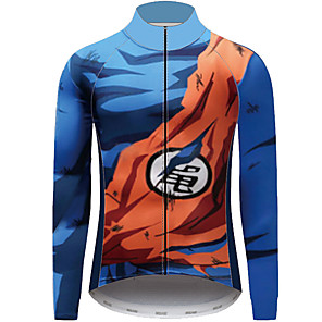 cheap Cycling Jersey & Shorts / Pants Sets-21Grams Dragon Ball Men's Long Sleeve Cycling Jersey - Blue Bike Jersey Top UV Resistant Breathable Quick Dry Sports Winter Fleece 100% Polyester Mountain Bike MTB Clothing Apparel / Micro-elastic