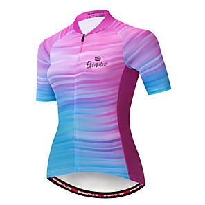 cheap Cycling Jerseys-EVERVOLVE Women's Short Sleeve Cycling Jersey Cotton Lycra Blue+Pink Stripes Bike Jersey Top Mountain Bike MTB Road Bike Cycling Breathable Quick Dry Moisture Wicking Sports Clothing Apparel
